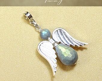 Gemstone Faceted Labradorite Angel pendant, Silver Tone wings Angel pendant, Crystal Angel pendant, Chakra jewelry, InfinityCraftArts