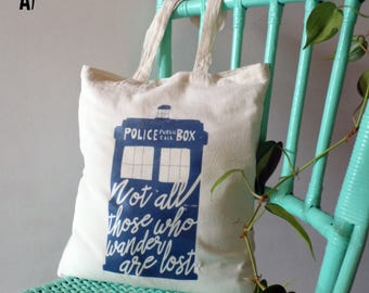 """Tote Bag -  Doctor who Tardis/Tolkien Print quote """"not all those who wander are lost"""""""
