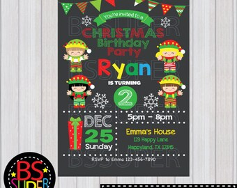 CHRISTMAS PARTY Invitation, Christmas Birthday invitation, Holiday Party Invitations, Elf invitation