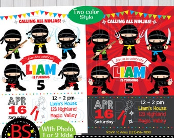 Ninja Birthday Invitation, Ninja Invitation, Ninja Party invite