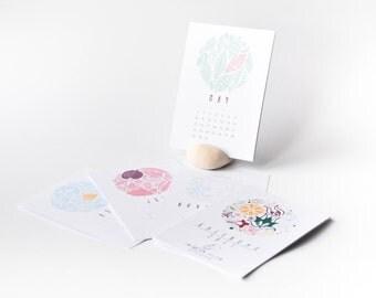2017 2018 CALENDAR, Printed calendar, Desk calendar, Wall calendar, Botanical calendar, Cute colourful linocut calendar, Folksy, Floral art