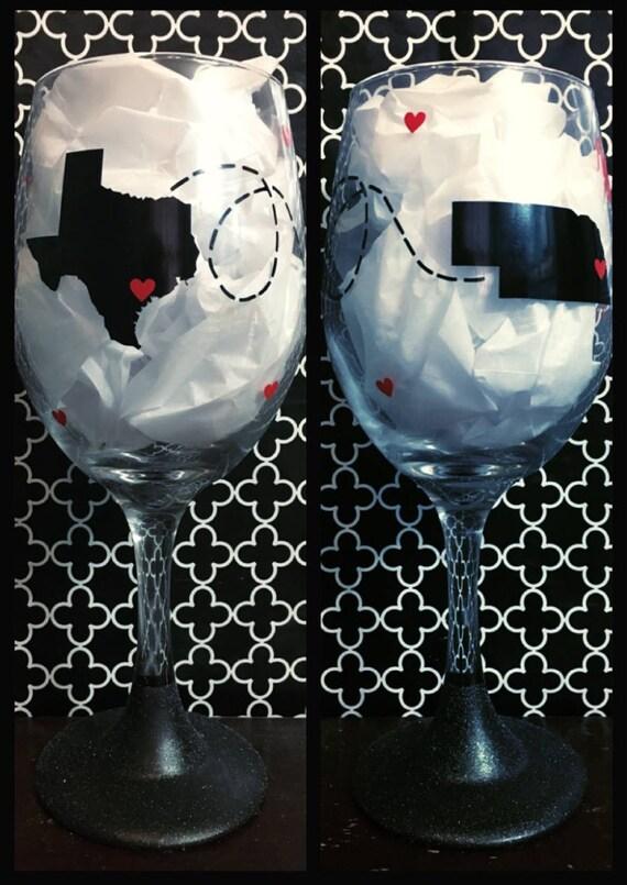Best Friend Wine Glass Long Distance Friendship State To