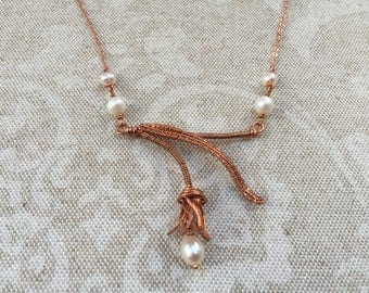 Persian Tulip Asymmetrical Wire-Woven Sculpture Necklace in Copper with White Cultured Freshwater Pearls