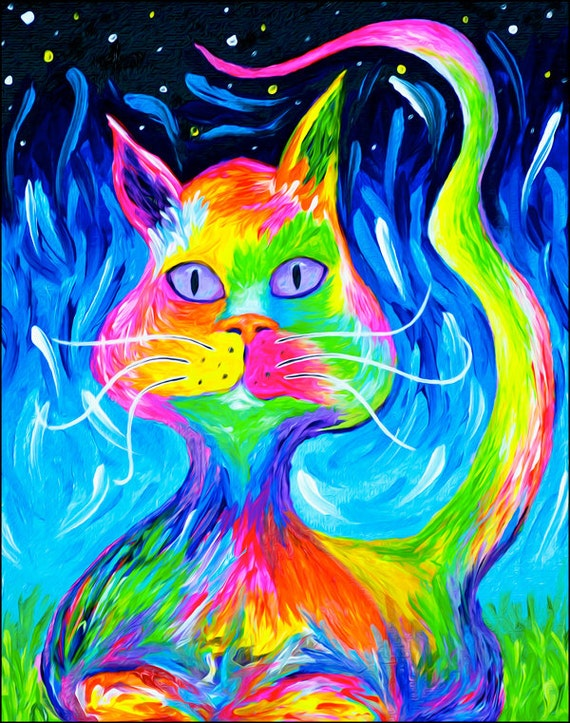 Cat Cartoon Art Print, Cosmic Cat Wall Art. Cat Artwork. Cartoon Cat Illustration. Giclee Art Print. FREE SHIPPING!