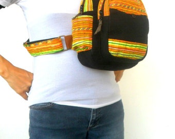 Sling Backpack crossbody bag Sling bag shoulder bag Messenger Bag Backpack Artistic bag Hippie Boho Hobo Bag Sling Black Multicolor bag