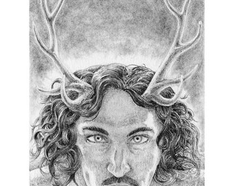 Archival Giclée Print, Herne, The Young Herne, Horned God, Pagan Art, Altar Art, Black and White, Graphite