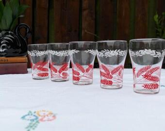 1960s Cocktail Glasses / Wheatsheaf Pattern / Retro Glass Tumblers / Festive Glassware / Retro Barware Set