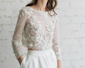 Wedding Top, Bridal Lace Top, Bridal Separates , Long Sleeves Lace Top, Bridal Crop Top, Ivory Lace Bridal Top, 3D Wedding Top - CAMILA