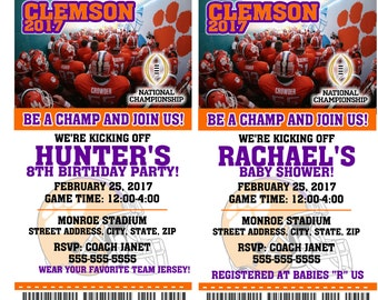 Printable  Clemson Tigers Champion College Football Birthday Party Invitation NCAA Ticket Invitation Baby Shower Invitations