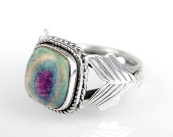 Statement Ruby Fuchsite Ring Sz 6.5 Native American Silver boho ring Bohemian Navajo Ring Zuni Southwest Indian Silver Ring Jewelry