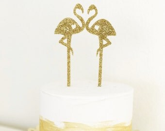 Flamingo Cake Topper Set, Flamingle Cake Topper,Wedding Cake Topper,Tropical Cake Topper, Flamingo, 2 count