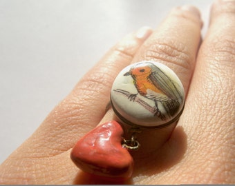 Erithacus rubecula (Robin) and Heart Clay and Brass Ring