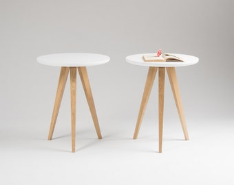 Pair of round white nightstand, small bedside table with three solid oak legs