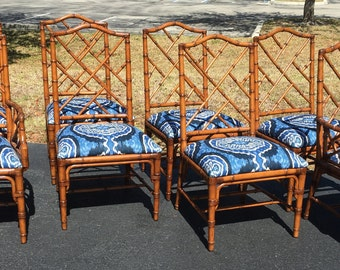 SOLD BCT (8) Chippendale Chinoiserie Chairs