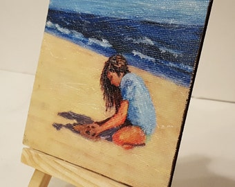 Impressionist Miniature painting Abstract Child on Beach