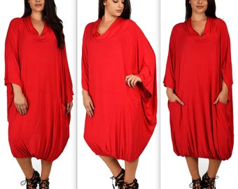 New Cowl Neck Dress Plus Size Dress,Comfortable and Designer Over size Dress,  Lagen look  Dress. 1XL to 6XL