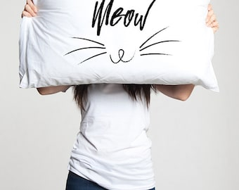 Meow Cat Lover Funny Pillow Case Gift with Cat Lady Kitty Owner Cute Kitten  Pet Pillowcase