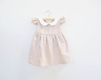 Dusty Pink Linen Dress for Girl Baby and Girl Toddler, Classic Retro Dress, Peter Pan Collar, 1st Birthday Outfit, Spring Easter Dress