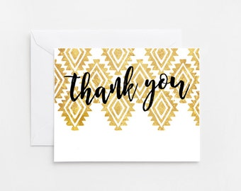 Printable Thank You Card, Gold and Black, Tribal (494)