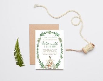 Deer Baby Shower Invitation Boy, Woodland, Teepee, Printable Invite (826)