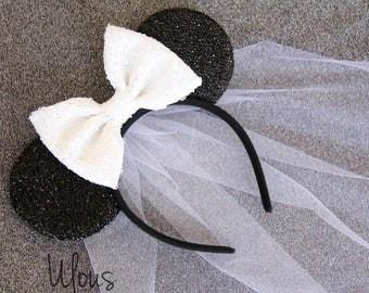 Wedding Mickey Ears, Wedding Minnie Ears, Bride Mickey Ears, Bride Minnie Ears, Bridal Minnie Ears, Disney Bride, Minnie Mouse Ears, Bride