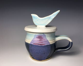 Pottery Microwave Egg Cooker, Egg Poacher, Stoneware, Bird Handle, Blue and Purple