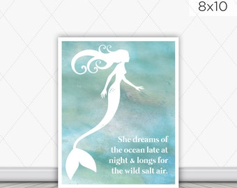 8x10 Mermaid Wall Print - Mermaid Wall Art - She Dreams of the Ocean - Inspirational Dream Quote - Watercolor Art