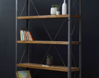 KONK! Oak/Steel - Double Depth (30cm) Bookcase/Bookshelf INDUSTRIAL Shelving [Bespoke sizes!]