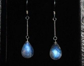 Moonstone earrings silver , dangle & drop earrings moonstone, June birthstone jewelry, blue flash moonstone jewelry, bridal earrings