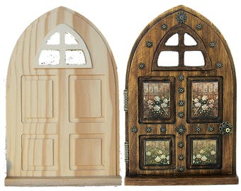 Fairy Garden Door Wood Panel Window Arch DIY Unfinished Gift Halloween Christmas Birthday Tooth Fairy Home Decor For Her