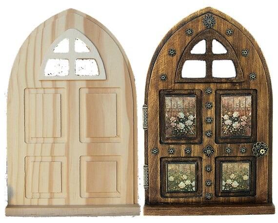 Fairy garden door wood panel window arch diy unfinished for Unfinished fairy door
