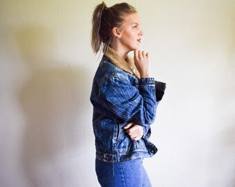 Vintage 90s Denim Jacket, Bleached Denim Jacket Large Grunge