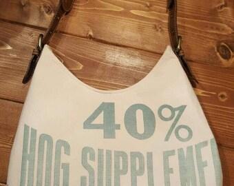 Vintage Feedsack purse, vintage feed bag , grain sack purse, feed sack tote , hog feed, shoulder bag, farmhouse style,