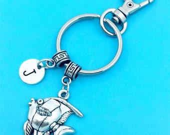 Pterophyllum Keychain, Angel Fish Key Chain, Custom Any Charm, Pterophyllum Keyring, Personalized Keychain, Pterophyllum Key Ring, Angelfish