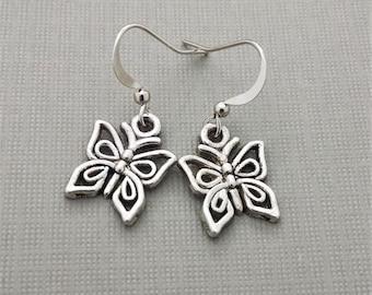 Butterfly Earrings, Silver Butterfly, Charm, Bead, Tiny Butterfly, Little Butterfly Earrings, Charm Earrings, Butterfly Charm