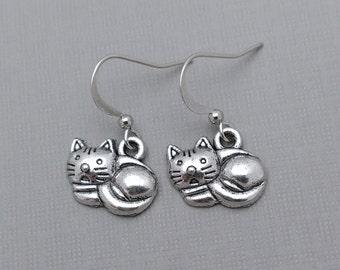 Cat Earrings, Kitten, Cat, Pet Charms, Nature Earrings, Animal Jewelry, Cat Charms, Kitty, Pet, Tiny Cat Charm Earrings
