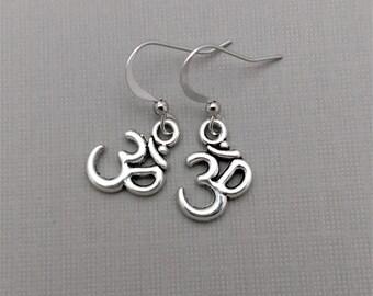 Silver Om Earrings, Om Jewelry, Yoga Earrings, Om Charms