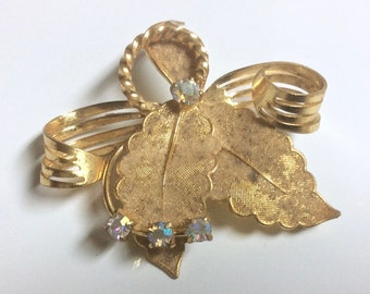 Gorgeous Vintage Signed Western Germany Gold Tone Brooch Pin Aurora Borealis AB Rhinestones