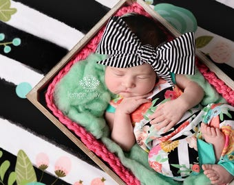 NOIR STRIPES Gorgeous Wrap- headwrap; fabric head wrap; newborn headband; baby headband; toddler headband; baby headwrap