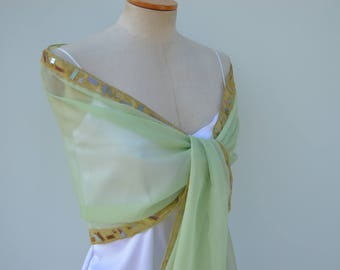 Clearance - 27% tulle light green organza, elegant scarf stole