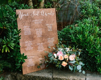 Wedding Seating Chart Sign - Wooden Wedding Signs - Wood