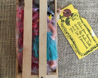 Vintage Souvenir Hawaiian Mailer Doll with Lei in Tiny Crate