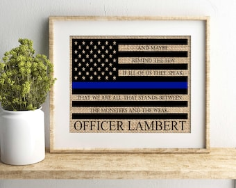 Police officer gift, police officer gifts, law enforcement gift, police academy gift, thin blue line, officer gift, LEO Gift, burlap print