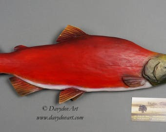 Fishing Gift Red Salmon Pacific Salmon Sockeye Wood Fish by Davydovart Gift for Fisherman Wood Carving Wooden Sculptur Fich Art WCOE Carving