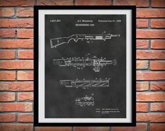 Patent Mossberg 500 Rifle - Art Print - Poster -  Fire Arm - Weapon - Gun - Pump Action Shotgun - Military Rifle - LawEnforcement Rifle