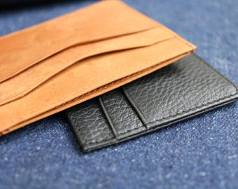 Leather Card holder - Natural colour - Hand crafted - debossed