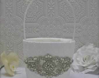 flower girl basket, wedding basket, ivory flower girl basket, wedding ideas, rhinestone flower girl basket, rhinestone wedding, pearl basket