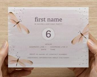Watercolor Dragonfly Birthday Invitation