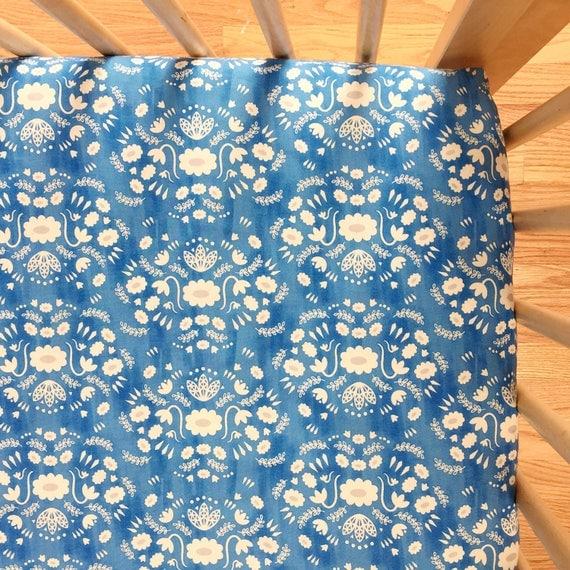Crib Sheet - Flower Shop Folk in Blue - MADE-to-ORDER -- blue crib sheet, floral crib sheet, boho baby bedding, bohemian toddler sheet set