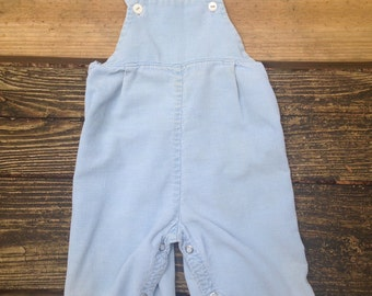 Vintage 1960s-70s Baby Toddler Overalls / Suspenders / Corduroy / Light Blue / see measurements